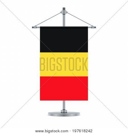 Belgian Flag On The Metallic Cross Pole, Vector Illustration