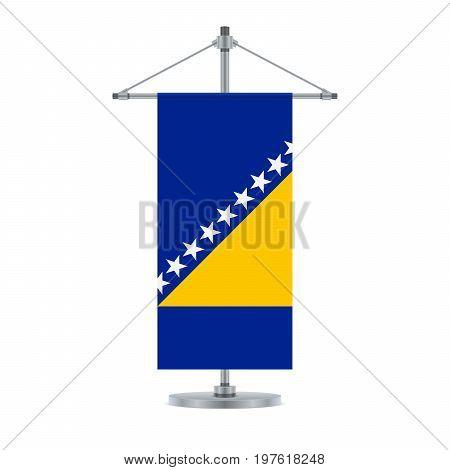 Bosnia Herzegovinan Flag On The Metallic Cross Pole, Vector Illustration