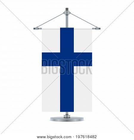 Finnish Flag On The Metallic Cross Pole, Vector Illustration