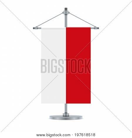 Indonesian Flag On The Metallic Cross Pole, Vector Illustration