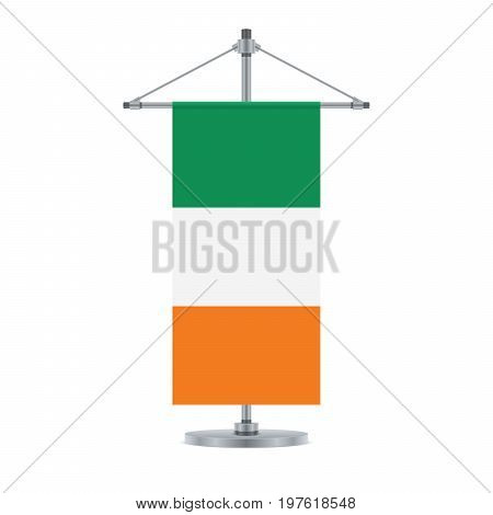 Irish Flag On The Metallic Cross Pole, Vector Illustration