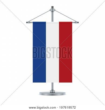 Dutch Flag On The Metallic Cross Pole, Vector Illustration