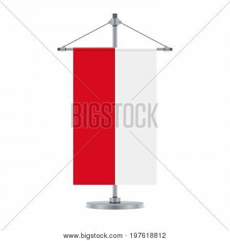 Polish Flag On The Metallic Cross Pole, Vector Illustration
