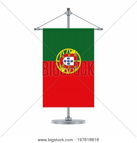 Portuguese Flag On The Metallic Cross Pole, Vector Illustration