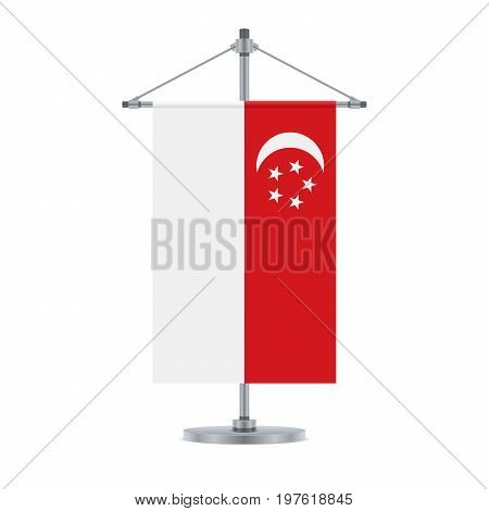 Singaporean Flag On The Metallic Cross Pole, Vector Illustration