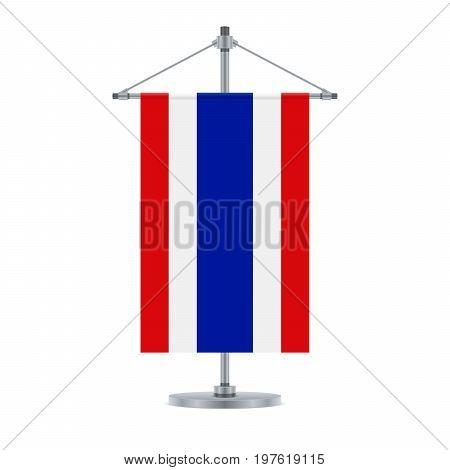 Thai Flag On The Metallic Cross Pole, Vector Illustration