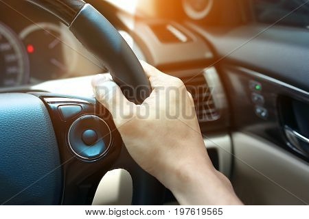 People Drive Vehicle Car Road Trip Travel, Hand Driver Chauffeur Control Steering Wheel