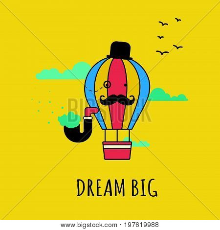 Hipster Hot Air Balloon Illustration