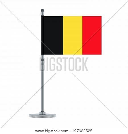 Belgian Flag On The Metallic Pole, Vector Illustration