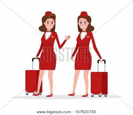 Couple Air hostess in red uniform walking isolated on white. flat character design vector illustration