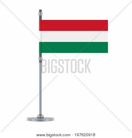 Hungarian Flag On The Metallic Pole, Vector Illustration