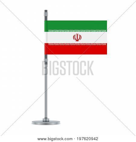 Iranian Flag On The Metallic Pole, Vector Illustration