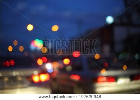 Traffic Light Of Driving Car On City Night Street Road, Abstract Blur Bokeh Background