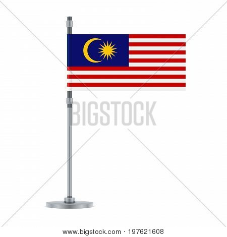 Malaysian Flag On The Metallic Pole, Vector Illustration
