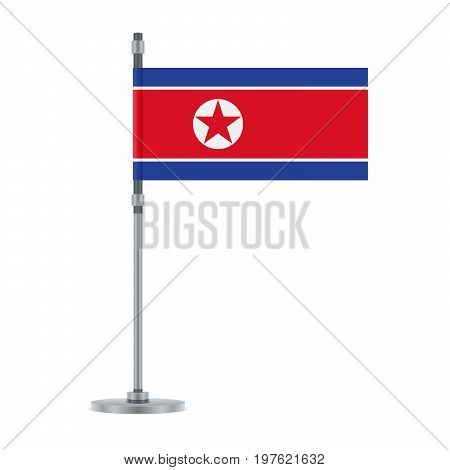North Korean Flag On The Metallic Pole, Vector Illustration