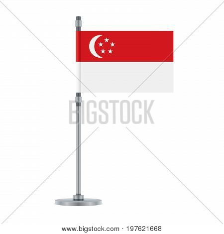 Singaporean Flag On The Metallic Pole, Vector Illustration