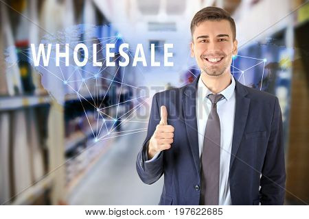 Manager at modern storehouse. Wholesale and logistic concept