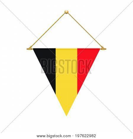 Belgian Triangle Flag Hanging, Vector Illustration