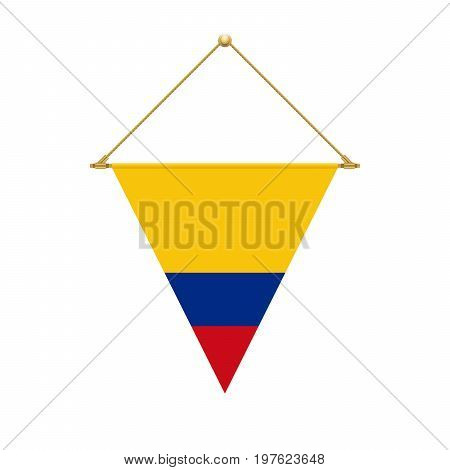 Colombian Triangle Flag Hanging, Vector Illustration
