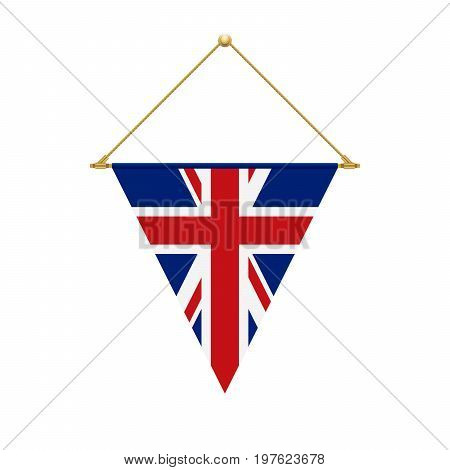 English Triangle Flag Hanging, Vector Illustration