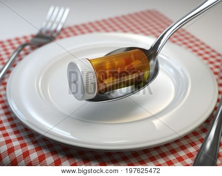 Pills in the plate with fork and spoon. Pharmacy diet nutrition concept. 3d illustration