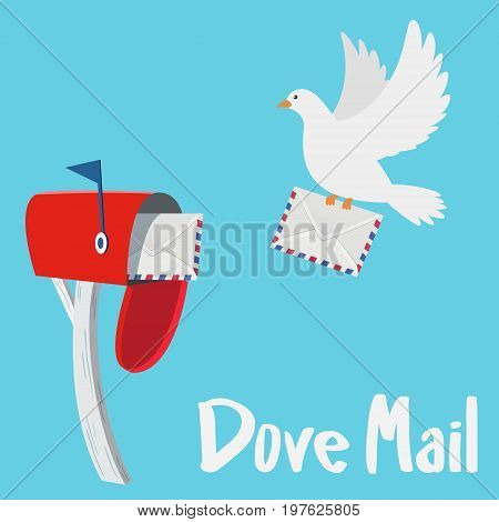 White Dove sending a letter to a red mail box vector illustration