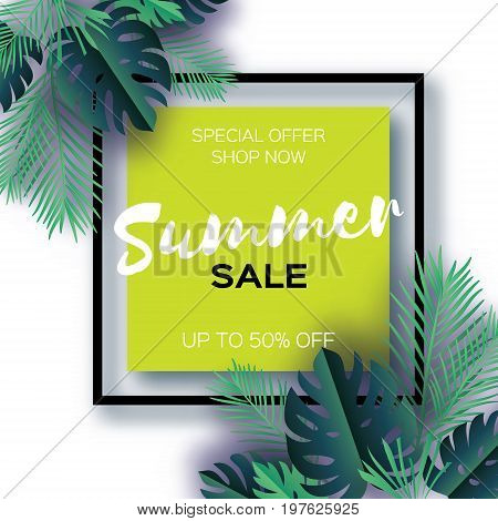 Trendy Summer Sale Template banner. Paper cut art Tropical palm leaves, plants. Exotic. Hawaiian. Space for text. Square frame. Dark green jungle floral background. Monstera, palm. Vector illustration
