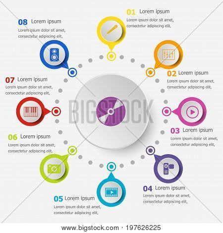 Infographic template with media icons, stock vector