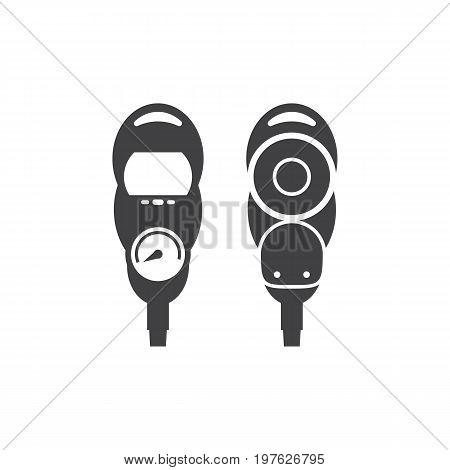 Scuba diving gauge icon. Underwater pressure detector silhouette isolated on white background.