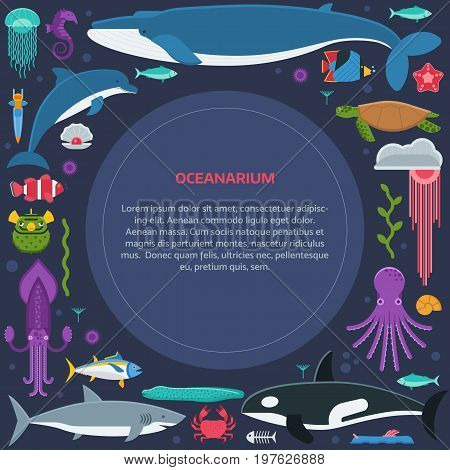 Oceanographic text frame with sea animals and fishes stylized in circle. Ocean and marine creatures and other aquatic life background with space for text. Oceanarium card or certificate template.