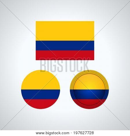Colombia Trio Flags, Vector Illustration