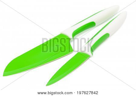 knives with blades of green on a white background