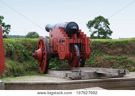 HELSINGOR, DENMARK - JUNE 30, 2016: This is old artillery of the Kronborg Castle which guarded the Kattegat Strait.