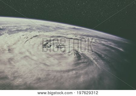 Typhoon Over Planet Earth - Satellite Photo.
