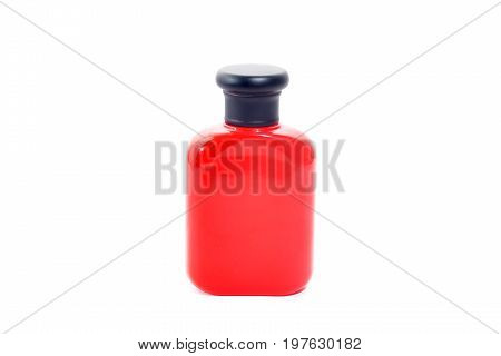 the bottle red color packaging isolated on white background.