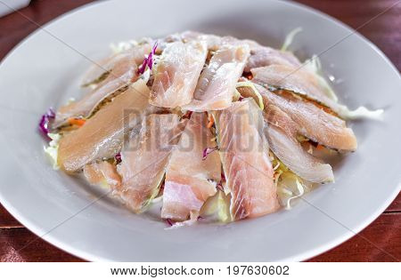 Fresh snapper with vegetable prepare sliced for soup