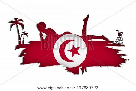 Young woman sunbathing on a beach. Cutout silhouette of the relaxing girl on a grunge brush stroke. Palm and lifeguard tower. Flag of the Tunisia on backdrop. 3D rendering.