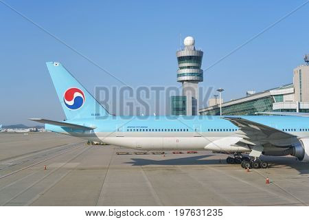 INCHEON, SOUTH KOREA - CIRCA MAY, 2017: Korean Air aircraft on tarmac at Incheon International Airport. Incheon International Airport is the primary airport serving the Seoul Capital Area.