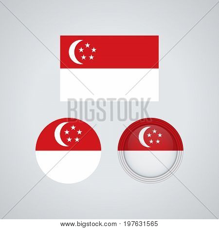 Singaporean Trio Flags, Vector Illustration