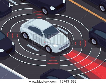 Vehicle autonomous driving technology. Car assistant and traffic monitoring system vector concept. Technology traffic vehicle, self-driving sensor for safety illustration