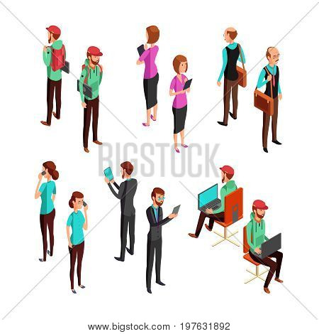 Isometric 3d business people isolated. Office man and woman professional teamwork vector set. Employee collection people, businesswoman manager professional illustration