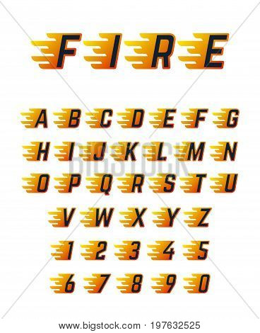 Burning running letters with flame. Hot fire vector font alphabet for racing car. Alphabet letter motion burn, speed flame abc illustration