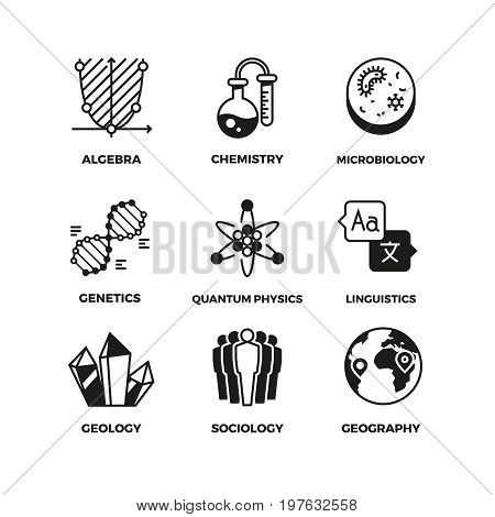 Science vector pictograms. Genetics and algebra, chemistry and biology, geography and sociology, linguistics and quantum physics symbols. Mathematics and globe, studying physics and geography illustration