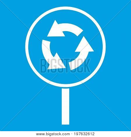 Circular motion road sign icon white isolated on blue background vector illustration