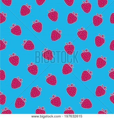 Juicy seamless pattern with fuchsia strawberries on blue backgroun.. Can be used in your project or printing.