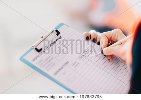 Maintenance Engineer With Checking List, Indoors Image, Toned Image