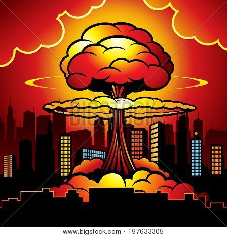 Burning city with nuclear explosion of atomic bomb. Cartoon vector illustration. Atomic bomb destruction, nuclear radioactive power