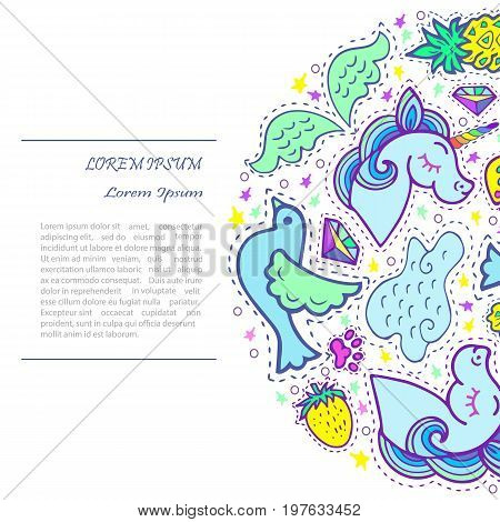 Circle concept with unicorn. Text copy frame template. It can be used for cover, invitation, birthday, greetings, unicorn party, baby birth, good night and sweet dreams card. Vector.