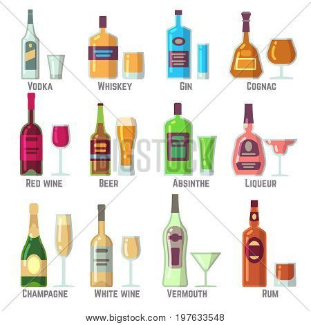 Alcoholic drinks in bottles and glasses flat vector icons set. Alcohol drink beverage illustration