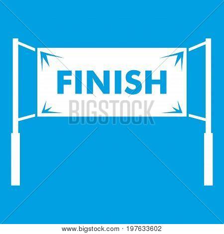 Finish line gates icon white isolated on blue background vector illustration